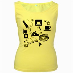 Books And Coffee Women s Tank Top (Yellow)
