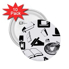 Books And Coffee 2 25  Button (10 Pack)