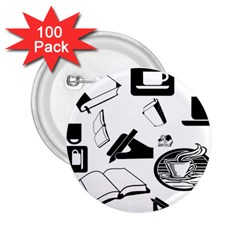 Books And Coffee 2.25  Button (100 pack)