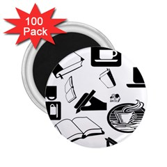 Books And Coffee 2 25  Button Magnet (100 Pack)