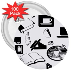 Books And Coffee 3  Button (100 pack)