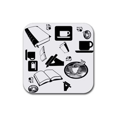 Books And Coffee Drink Coasters 4 Pack (Square)