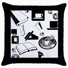 Books And Coffee Black Throw Pillow Case