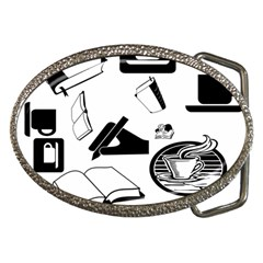 Books And Coffee Belt Buckle (Oval)