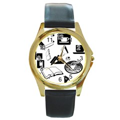 Books And Coffee Round Leather Watch (Gold Rim)
