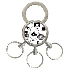 Books And Coffee 3-Ring Key Chain