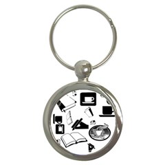 Books And Coffee Key Chain (Round)