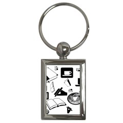 Books And Coffee Key Chain (rectangle)