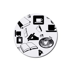Books And Coffee Drink Coaster (round)