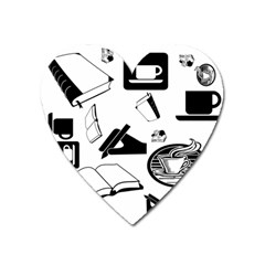 Books And Coffee Magnet (heart)