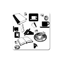 Books And Coffee Magnet (Square)