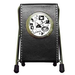 Books And Coffee Stationery Holder Clock