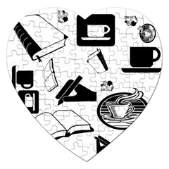 Books And Coffee Jigsaw Puzzle (Heart)