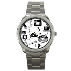 Books And Coffee Sport Metal Watch