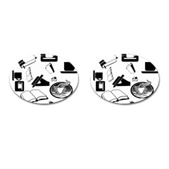 Books And Coffee Cufflinks (Oval)