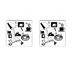 Books And Coffee Cufflinks (Square)