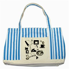Books And Coffee Blue Striped Tote Bag