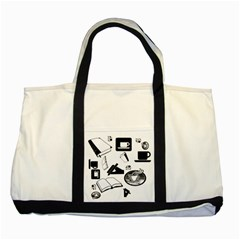 Books And Coffee Two Toned Tote Bag