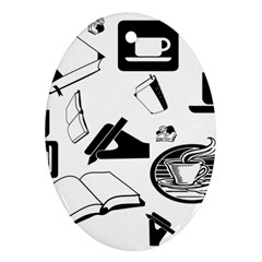 Books And Coffee Oval Ornament (Two Sides)
