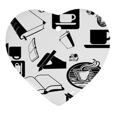 Books And Coffee Heart Ornament (two Sides)