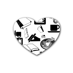 Books And Coffee Drink Coasters 4 Pack (Heart)