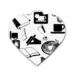 Books And Coffee Dog Tag Heart (One Sided)