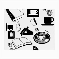Books And Coffee Glasses Cloth (Small, Two Sided)