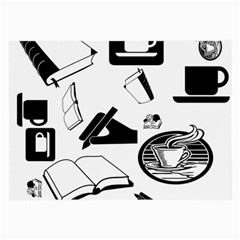 Books And Coffee Glasses Cloth (Large, Two Sided)