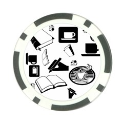 Books And Coffee Poker Chip