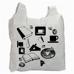 Books And Coffee White Reusable Bag (two Sides)