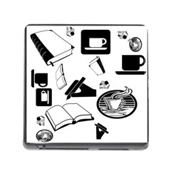Books And Coffee Memory Card Reader with Storage (Square)