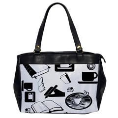Books And Coffee Oversize Office Handbag (one Side)