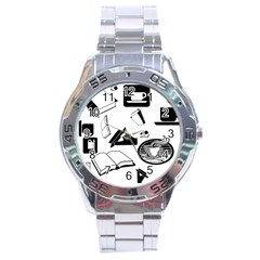 Books And Coffee Stainless Steel Watch