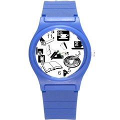 Books And Coffee Plastic Sport Watch (Small)