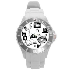 Books And Coffee Plastic Sport Watch (Large)