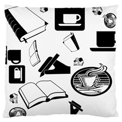 Books And Coffee Large Cushion Case (two Sided)