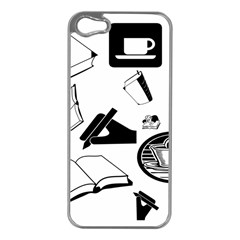 Books And Coffee Apple iPhone 5 Case (Silver)