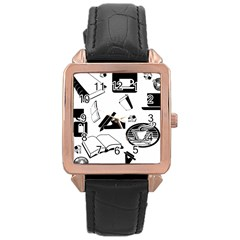 Books And Coffee Rose Gold Leather Watch