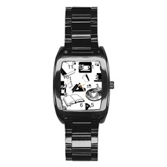 Books And Coffee Stainless Steel Barrel Watch