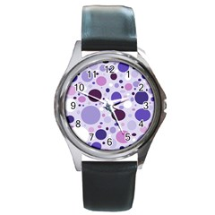 Passion For Purple Round Leather Watch (Silver Rim)