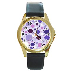 Passion For Purple Round Leather Watch (Gold Rim)