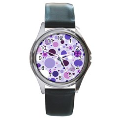 Purple Awareness Dots Round Leather Watch (Silver Rim)