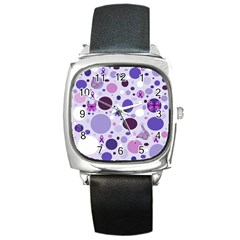 Purple Awareness Dots Square Leather Watch