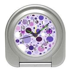 Purple Awareness Dots Desk Alarm Clock