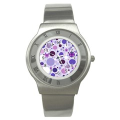 Purple Awareness Dots Stainless Steel Watch (slim)
