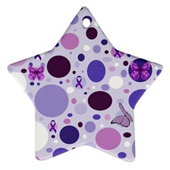 Purple Awareness Dots Star Ornament (two Sides)