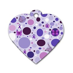Purple Awareness Dots Dog Tag Heart (Two Sided)