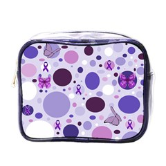 Purple Awareness Dots Mini Travel Toiletry Bag (One Side)