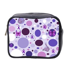 Purple Awareness Dots Mini Travel Toiletry Bag (Two Sides)