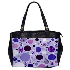 Purple Awareness Dots Oversize Office Handbag (One Side)